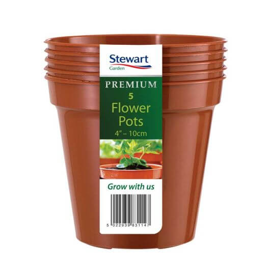 "Flower Pot 10cm / 4"" Pack of 5 - Terracotta"