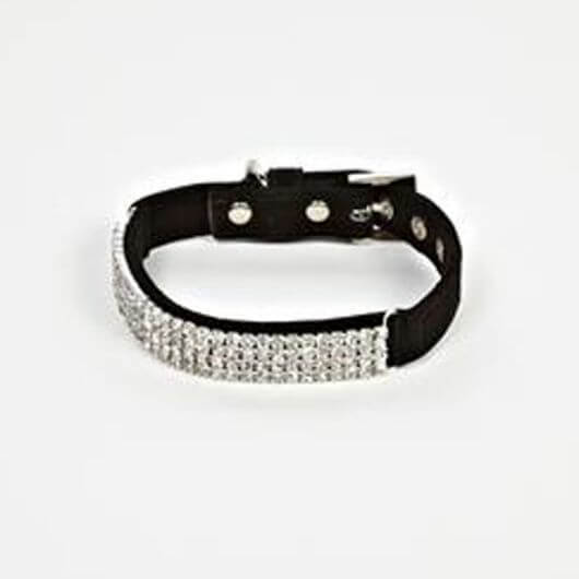 Petface Black Velvet and Diamante Dog Collar - Small