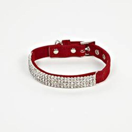 Petface Red Velvet and Diamante Dog Collar - Small