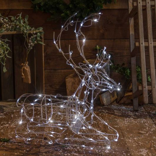 Noma 100 LED White Naked Frame Sitting Deer