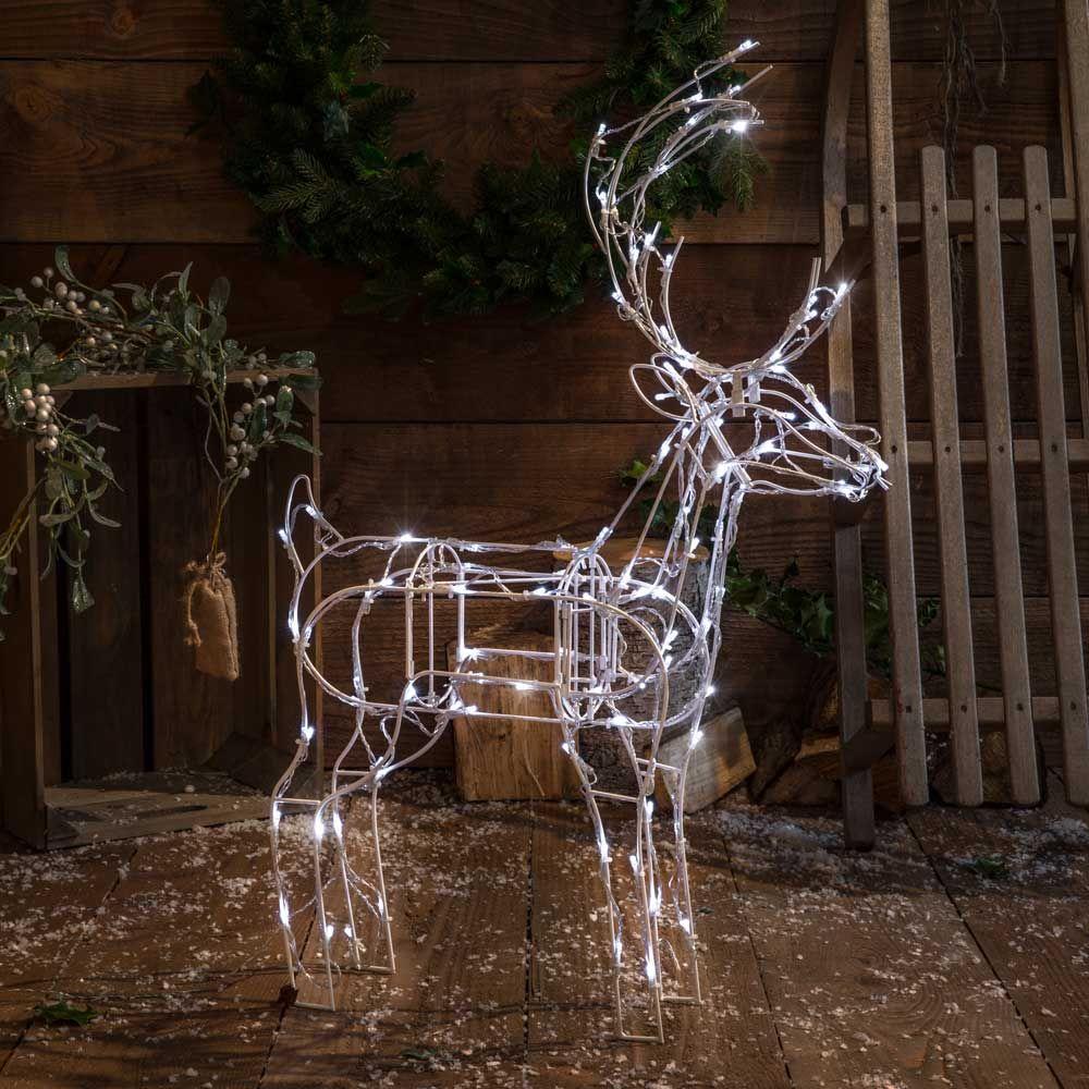 Noma 100 Led White Naked Frame Standing Deer Garden