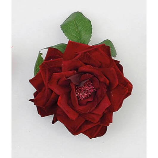 Burgundy Plush Rose with Clip