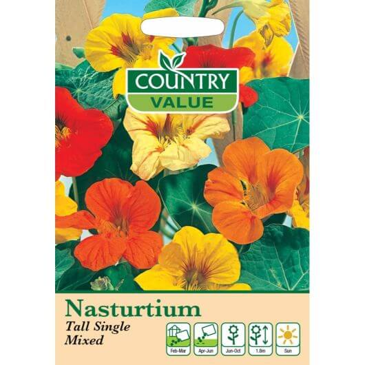 Nasturtium Tall Single Mixed CV MF Seeds