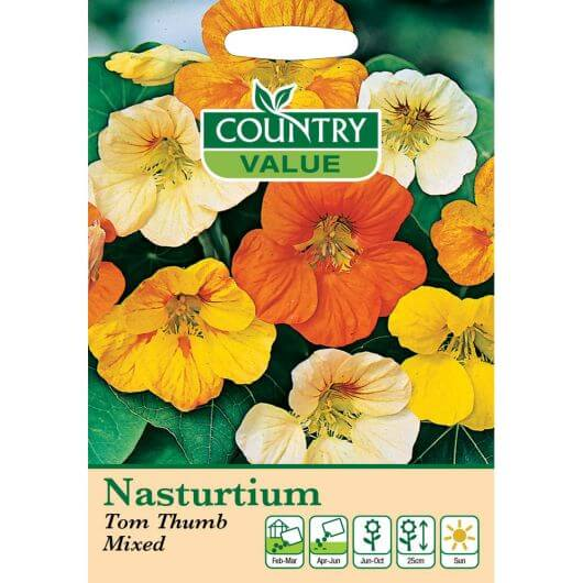 Nasturtium Tom Thumb Mixed CV MF Seeds