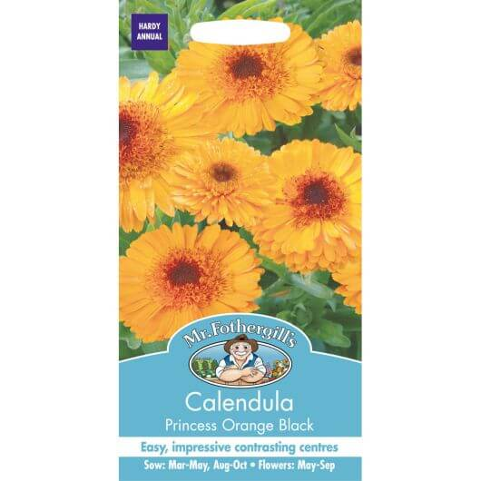 Calendula Princess Orange Black MF Seeds