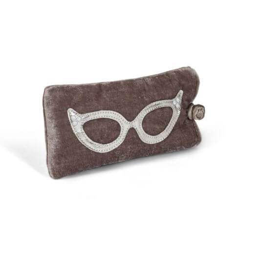 Velvet Glasses Case in Taupe