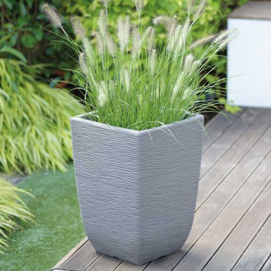 Cotswold Tall Square Planter Limestone Grey 33cm