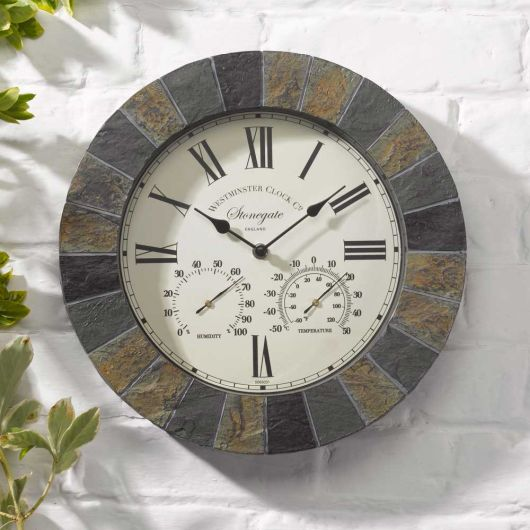Smart Garden Stonegate Wall Clock & Thermometer