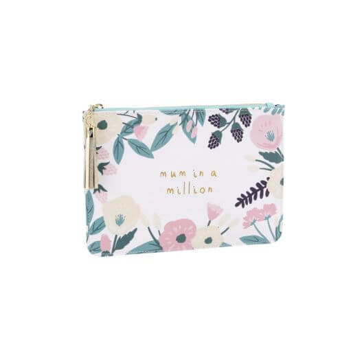 White Floral 'Mum in a Million' Beauty Bag
