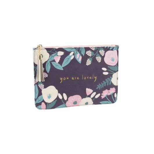 Purple Floral 'You are Lovely' Beauty Bag