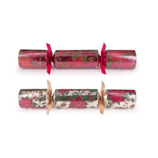 Poinsettia Deluxe Christmas Crackers (Box of 6)