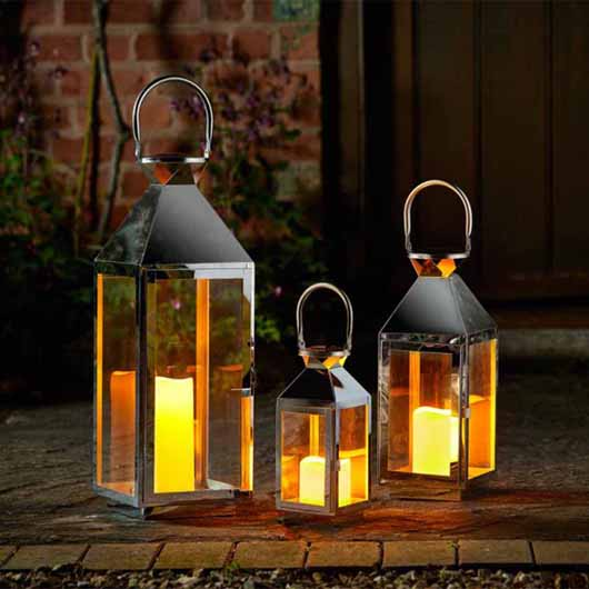 Smart Garden - Stockholm Stainless Steel Lantern - Set of 3