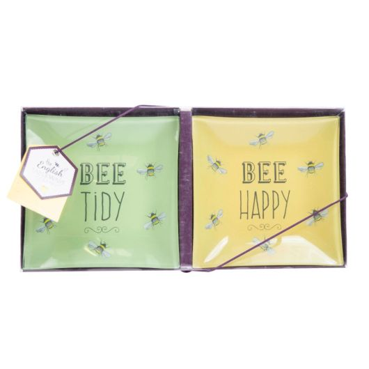 Bee Happy Square Glass Dish - Set of 2