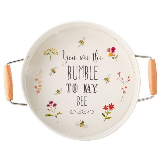 Bee Happy Decorated Painted Steel Round Tray