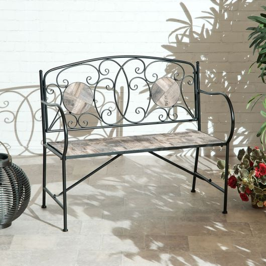 Suntime English Mosaic Bench in Grey