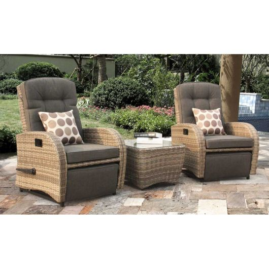 Bellevue Reclining / Rocking Companion Set in Brown Rattan