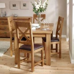 Oak Dining Set with 4 PU Leather Seat Chairs