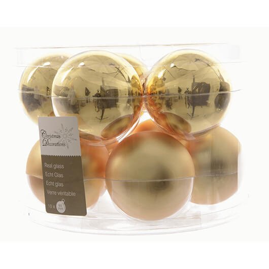 Box of 10 Christmas Baubles - Light gold