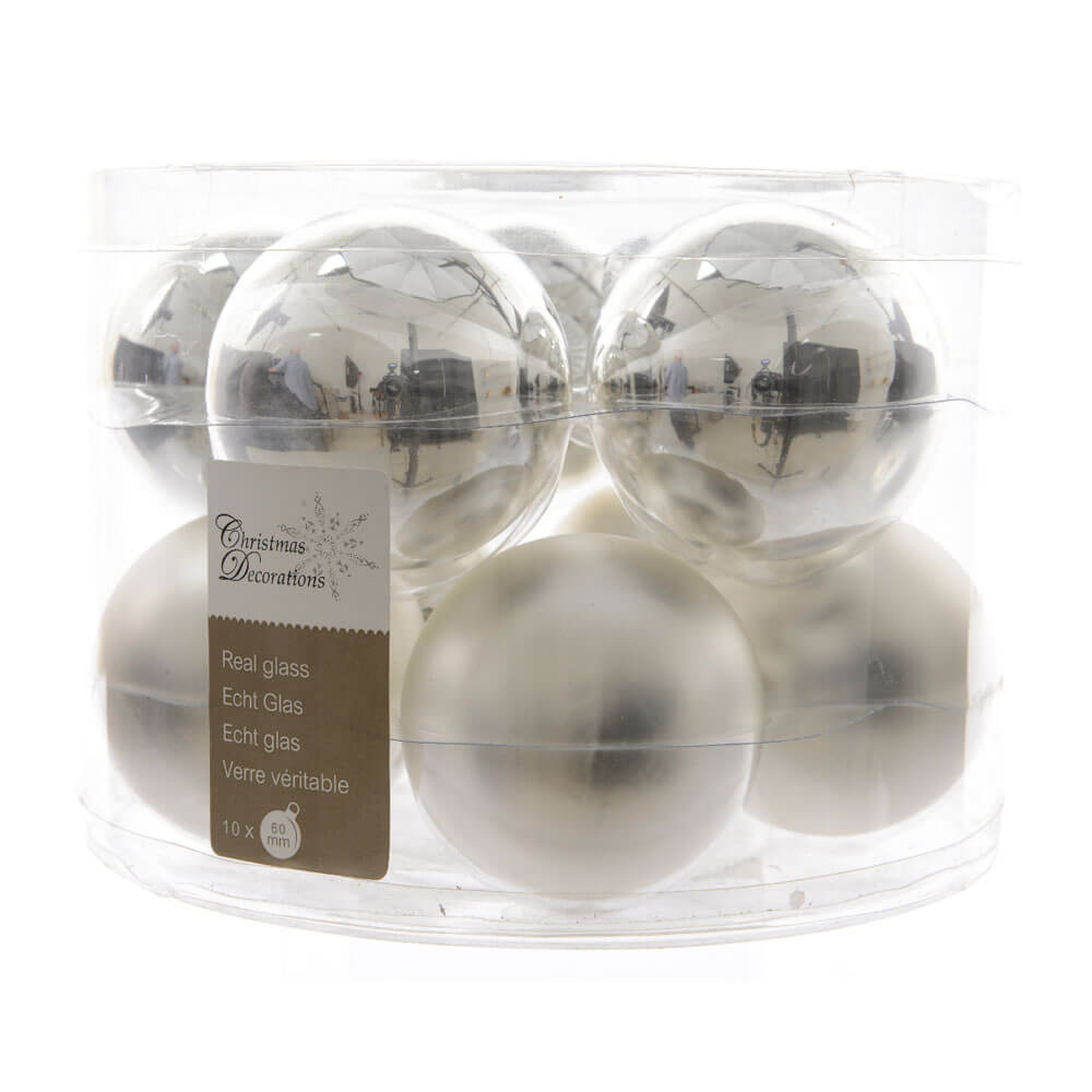 Box of 10 Christmas Baubles - Silver