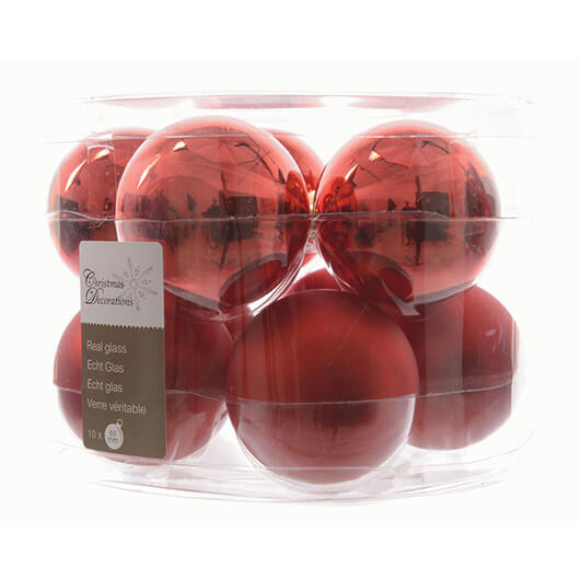 Box of 10 Christmas Baubles - Christmas Red