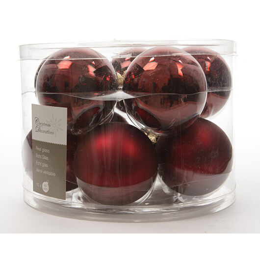 Box of 10  Christmas Baubles - Oxblood Dark Red