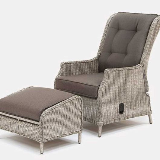Kettler Classic Recliner & Footstool in Whitewash