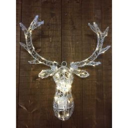 See more information about the Reindeer Head Door Hanger with Warm White Lights