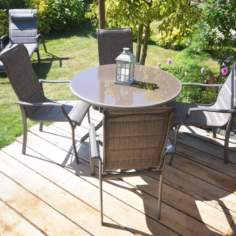 Lg outdoor geneva 4 seater dining set garden store online for Outdoor furniture 4 seater