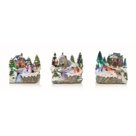 Christmas Village Ornament With Rotating Characters
