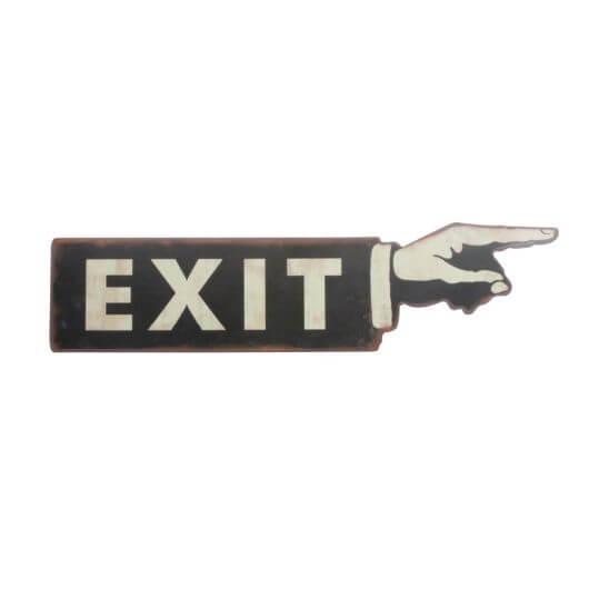 Distressed Tin Exit Arm Wall Sign