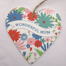 See more information about the Gisela Graham Mum Floral Wood Heart  - Large