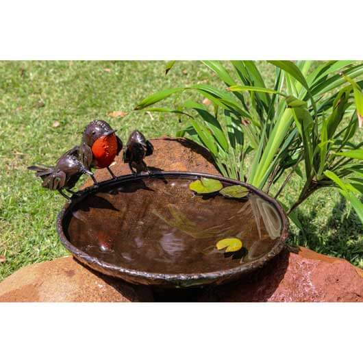 Tilnar Red Robins Bird Bath 32cm