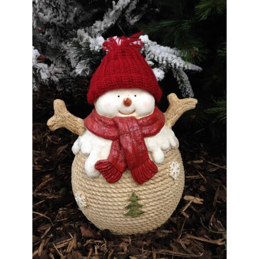 Snowman with red hat & scarf