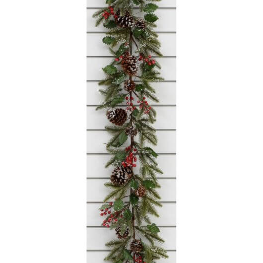 6ft Frosted Cone/Berry Garland