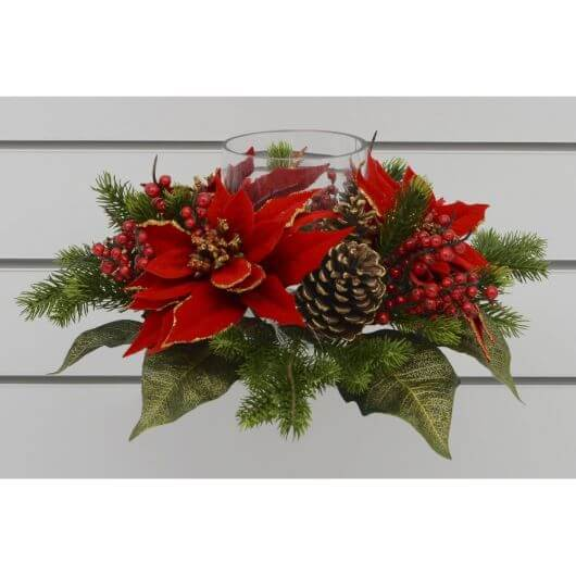 40cm Poinsettia/Cone with Glass Candle Holder