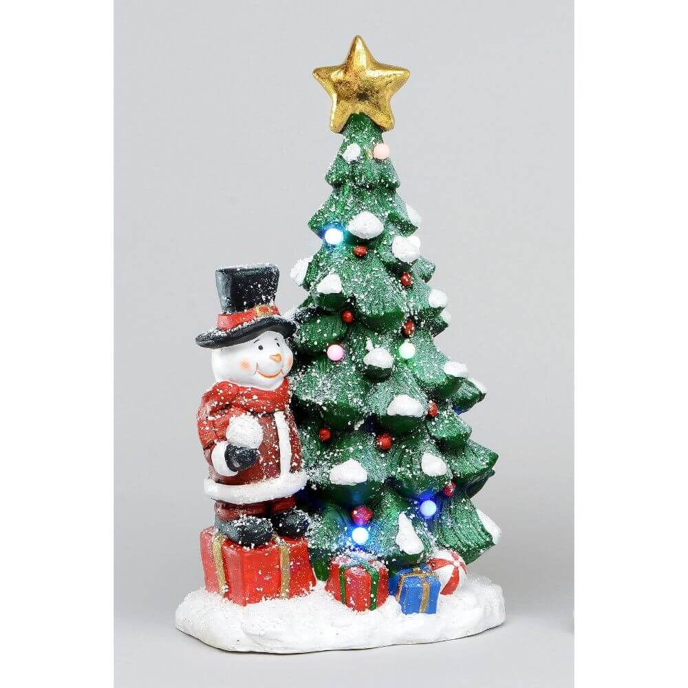 Resin Tree And Snowman Ornament Light