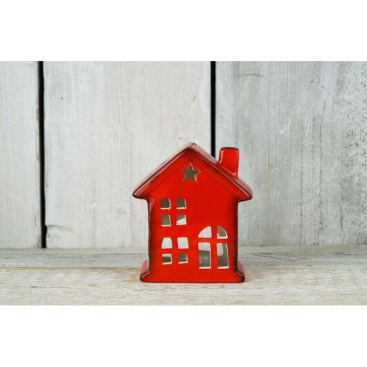 Red Ceramic Tealight House