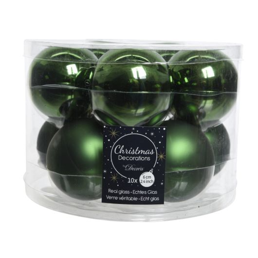 Box of 10 Christmas Baubles - Pine Green