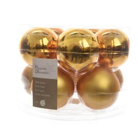 Box of 10 Christmas Baubles - Intense Gold