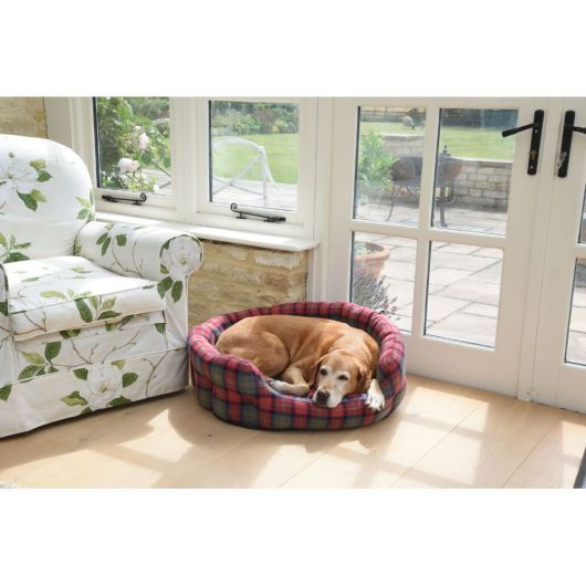 Zoon Check Oval Dog Bed - Small