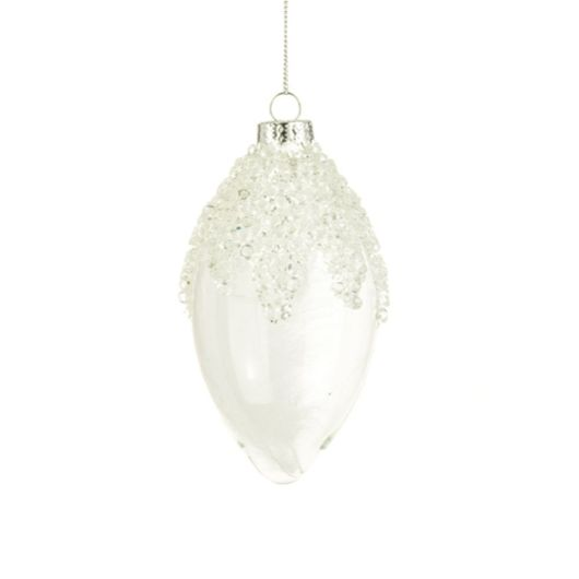 Floralsilk Lucia White Glass Finial Bauble 12cm
